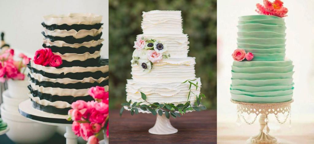 Torty weselne dekoracja falbanki