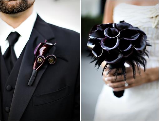 czarny bukiet na wesele