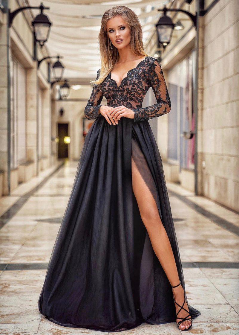 Czarna sukienka z beżem Inubia