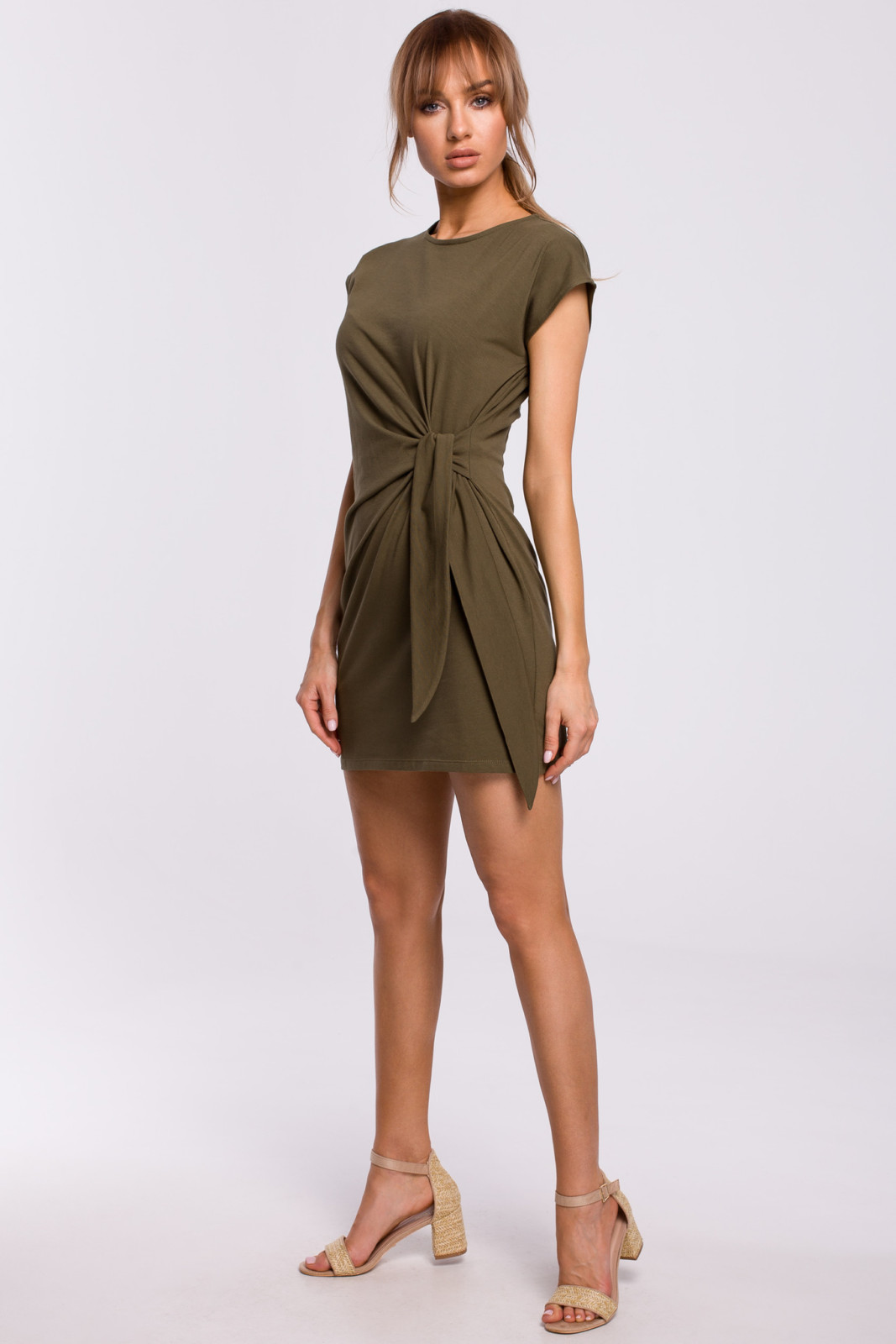 Bawełniana sukienka mini z supłem wiązanym na boku avocado style