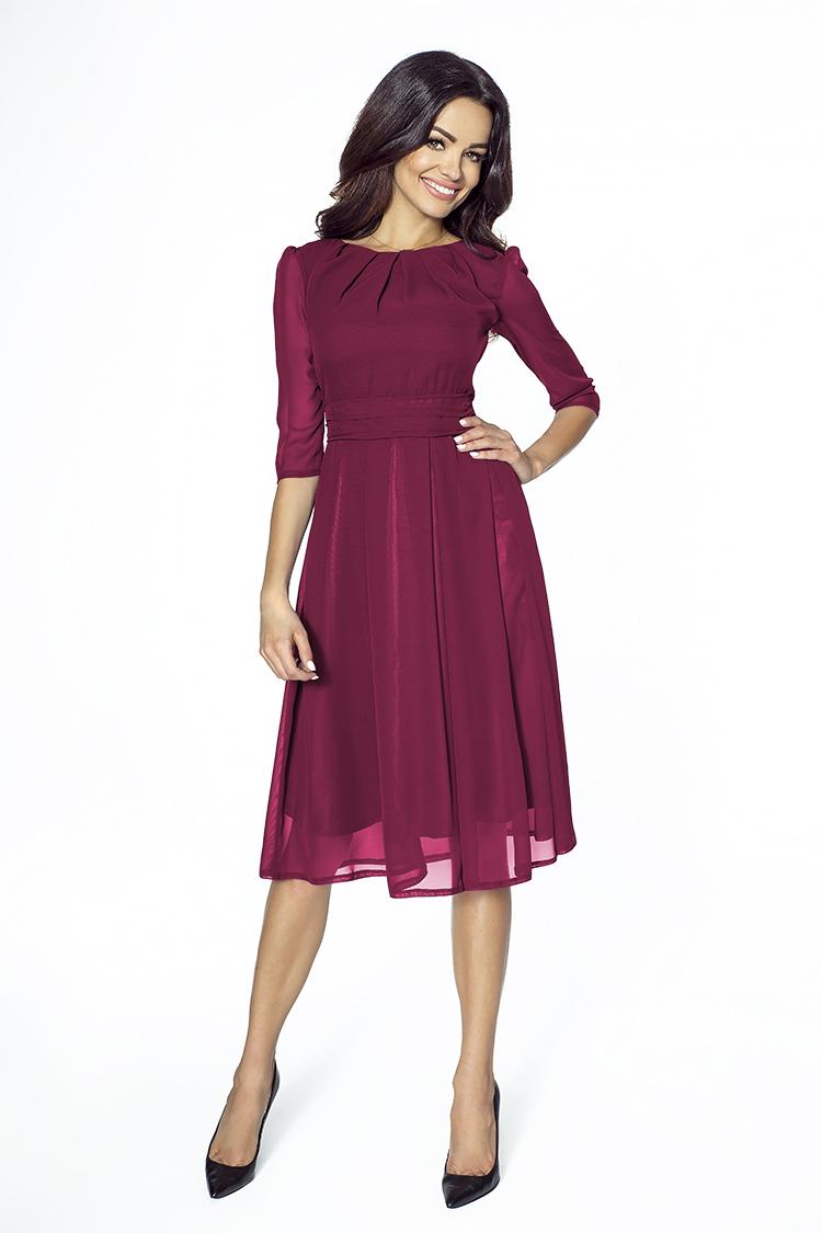 Bordowa Koktajlowa sukienka z szyfonu-kartes-moda