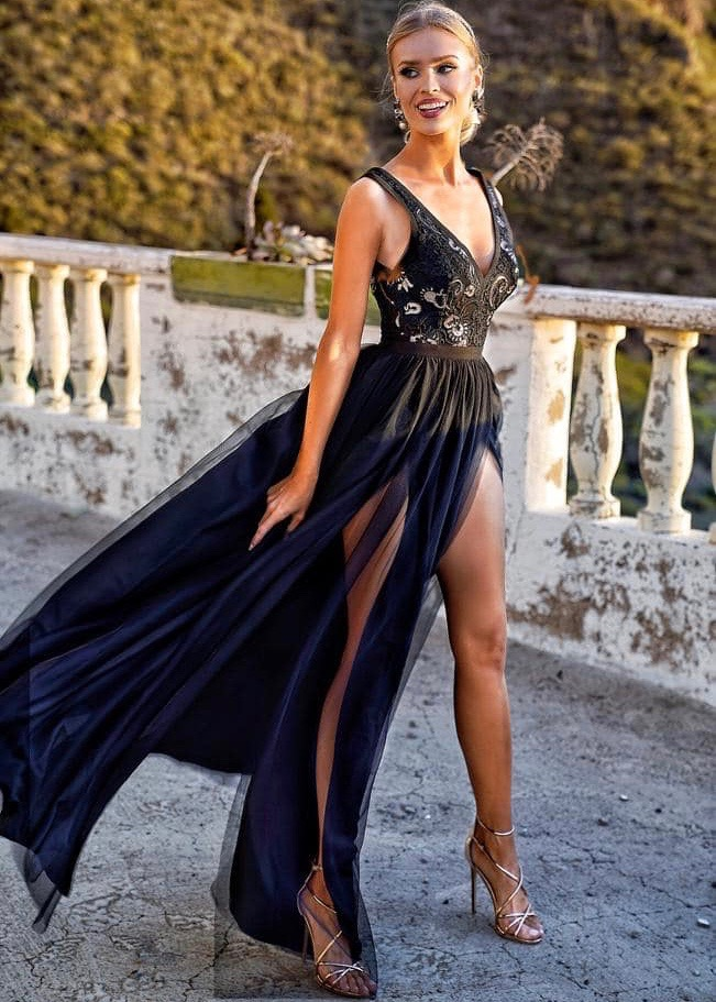 Charlotte czarno złota sukienka na wesele Inubia