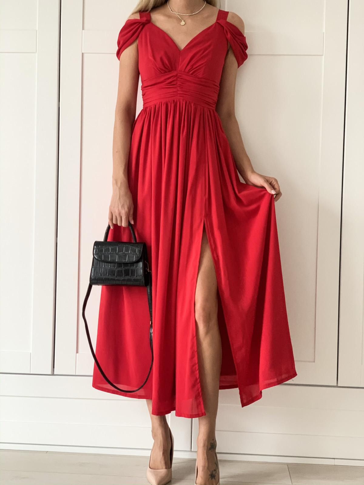 Emma - Czerwona długa sukienka z szyfonu-kartes-moda