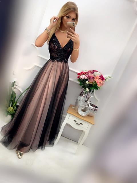 Ilona sukienka maxi tiulowa brydny róż z czarnym e-sukienki
