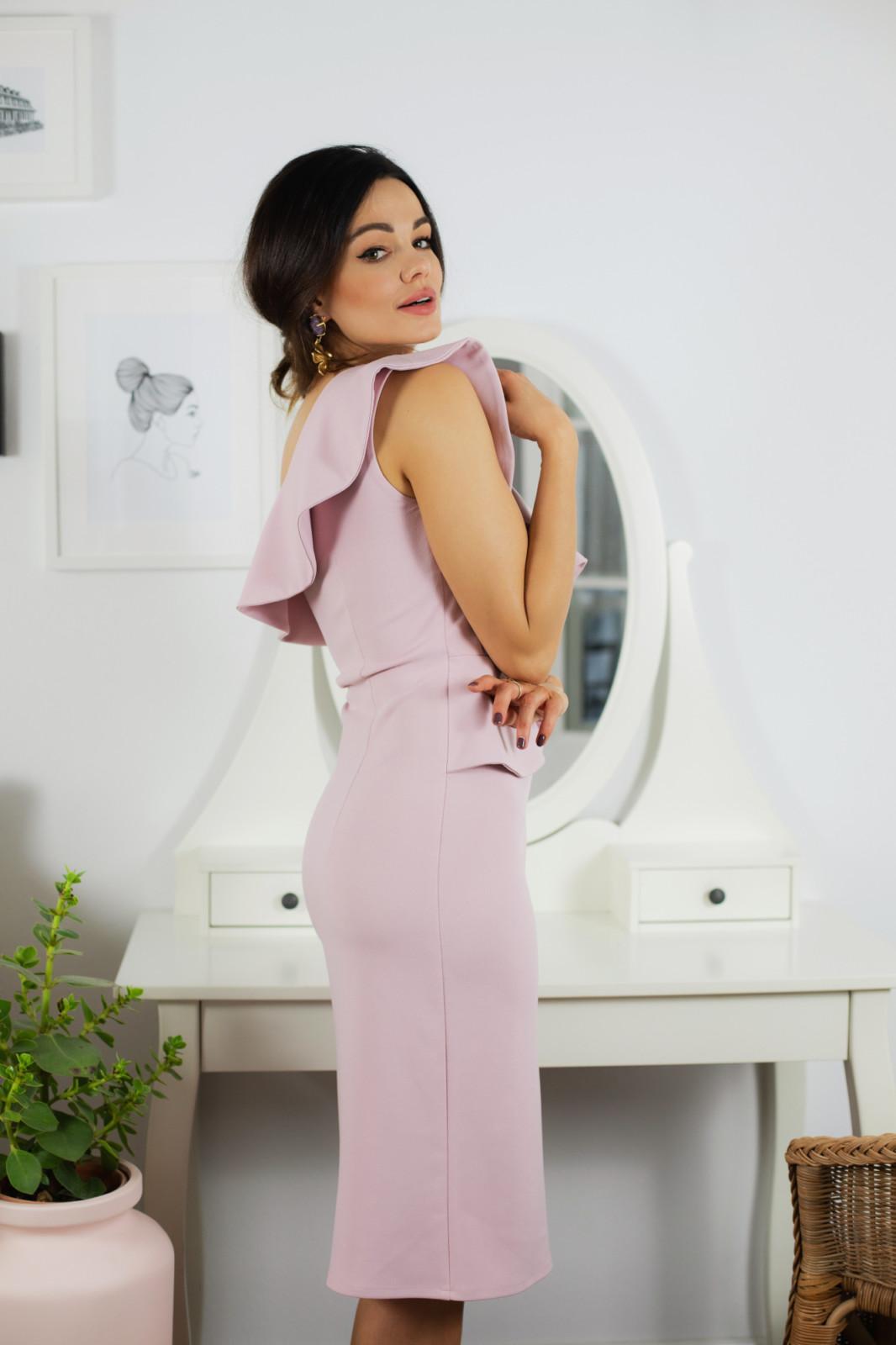 Ivet asymetryczna sukienka z falbaną-kartes-moda