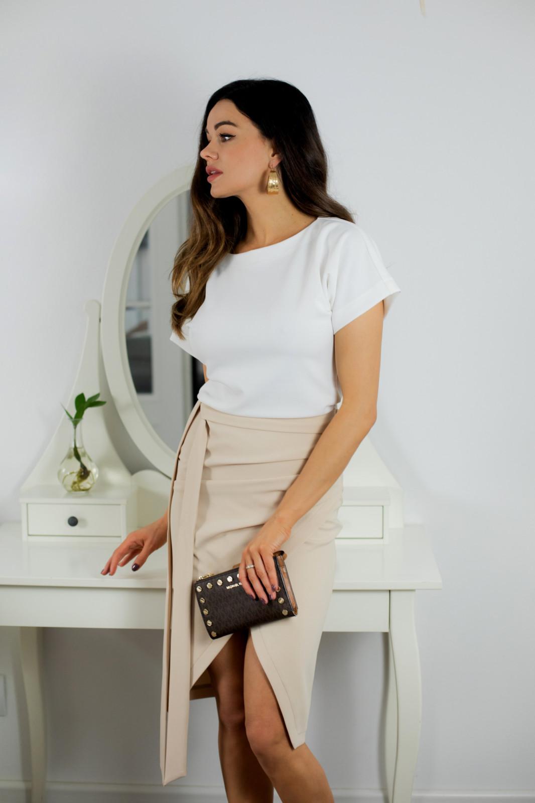 Liza dwukolorowa sukienka biało beżowa Kartes moda
