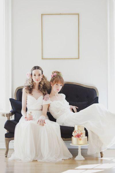 Oblubienica z wysokim kokiem i grzywką