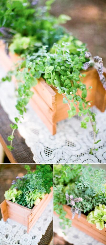 ziołowa aranżacja na stół weselny zrób to sam
