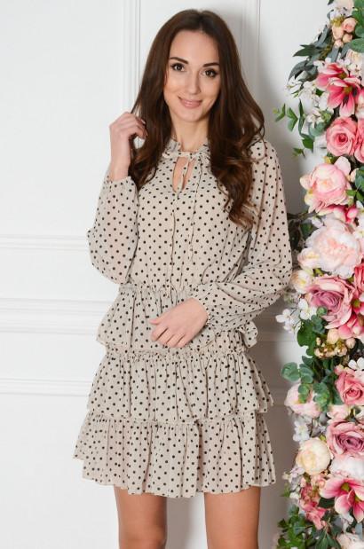 Sukienka szyfonowa z falban w grochy jasny beż Emet Cocomoda