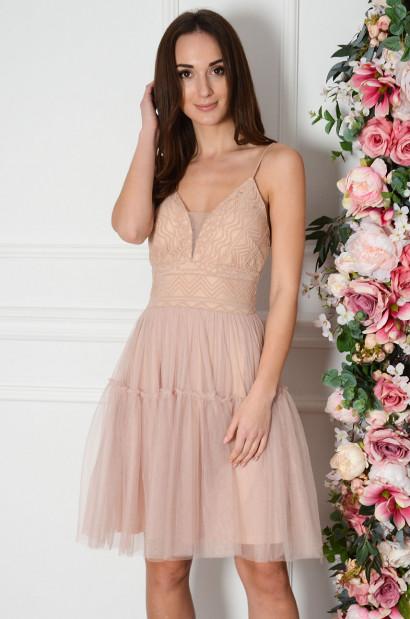 Sukienka z koronki i tiulu na ramiączkach brudny róż Aquila-cocomoda