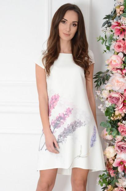 Sukienka z łezką dłuższy tył delikatne hiacynty Cocomoda