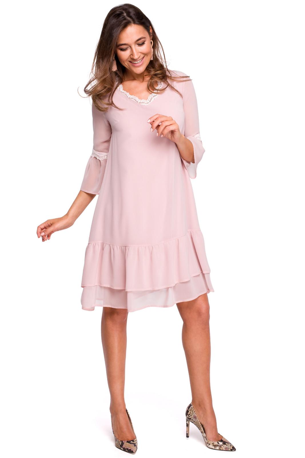 Szyfonowa sukienka z falbanami avocado style