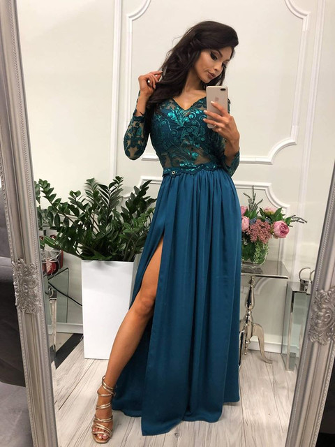 WANESA - DŁUGA SUKIENKA Z ROZCIĘCIEM-s-sukienki