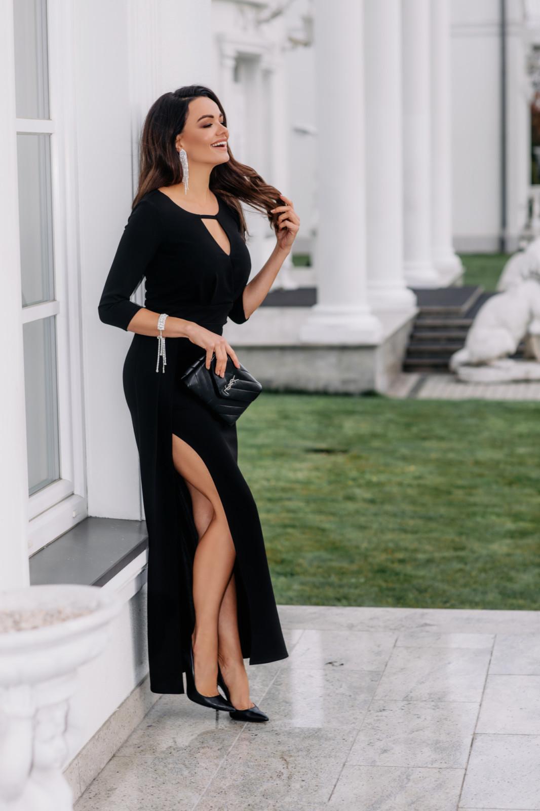 Wera II- Czarna wizytowa sukienka maxi z rozcięciem-kartes-moda