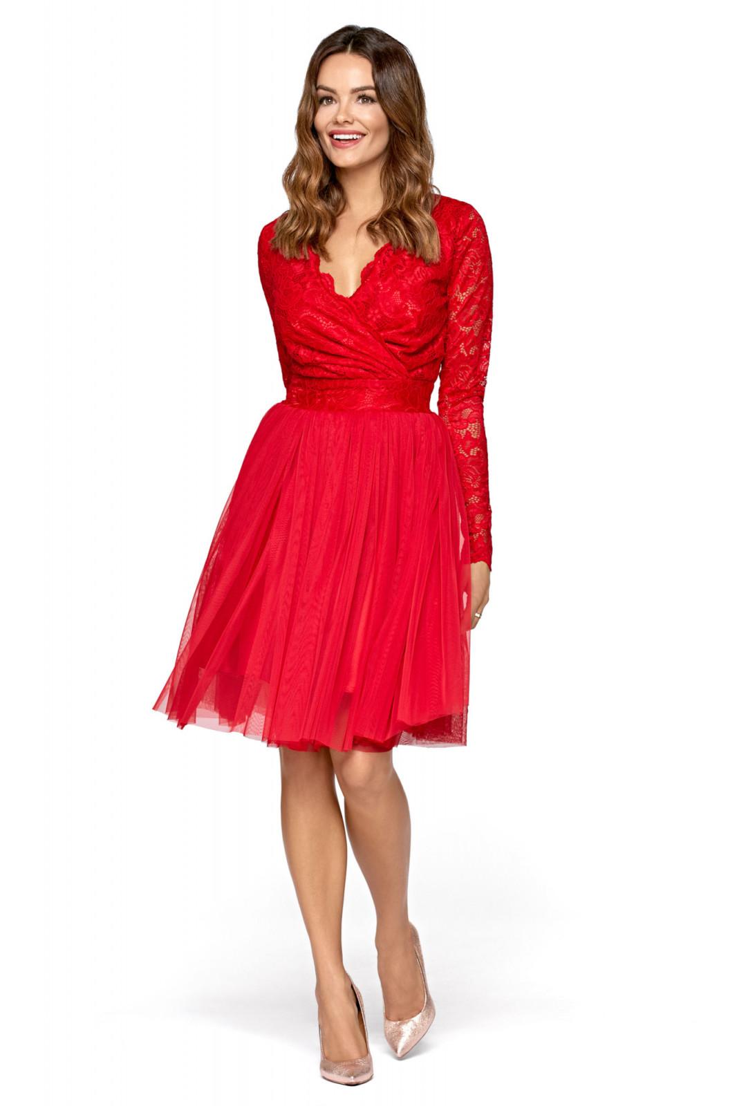 Wieczorowa sukienka z tiulu i koronki-kartes-moda
