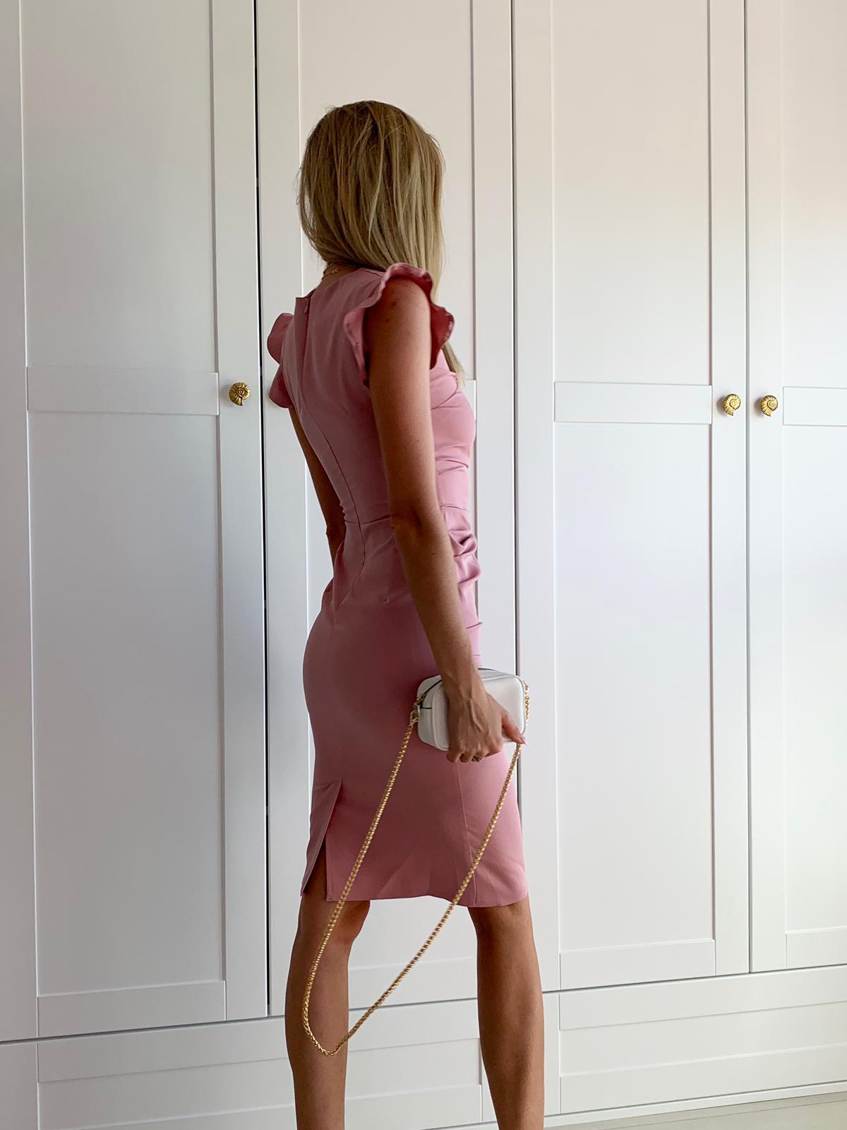 Wizytowa sukienka z falbaną-kartes-moda