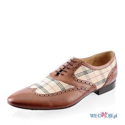 brązowe buty primamoda w kratkę
