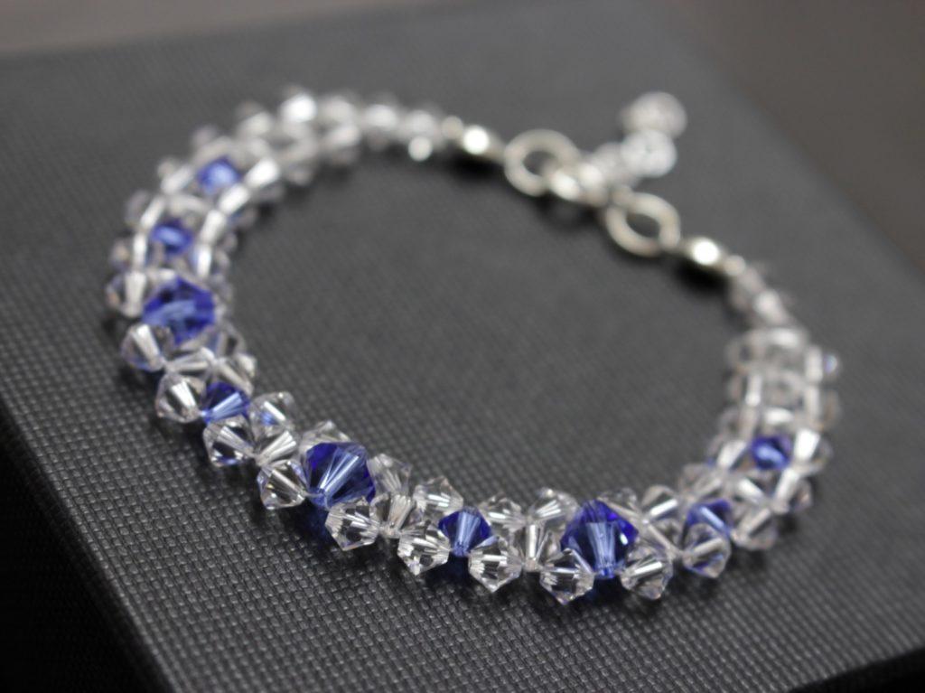 Swarovski i srebro biżuteria ślubna bransoletka ślubna saphire 14