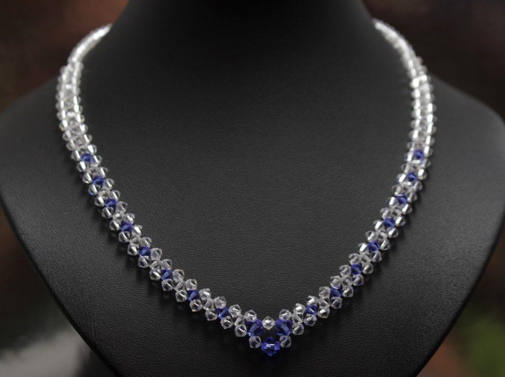 Swarovski i srebro biżuteria ślubna naszyjnik ślubny saphire 16