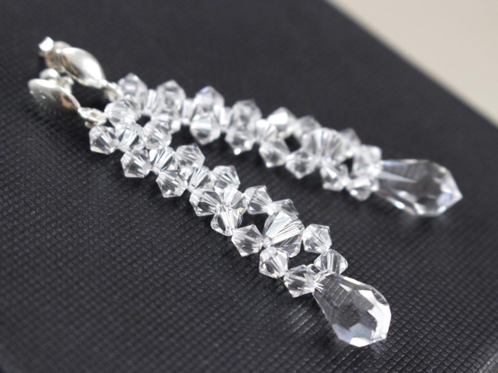 Swarovski i srebro kolczyki kropla biżuteria ślubna 8