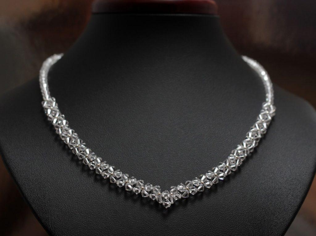 Swarovski i srebro naszyjnik biżuteria ślubna art 4