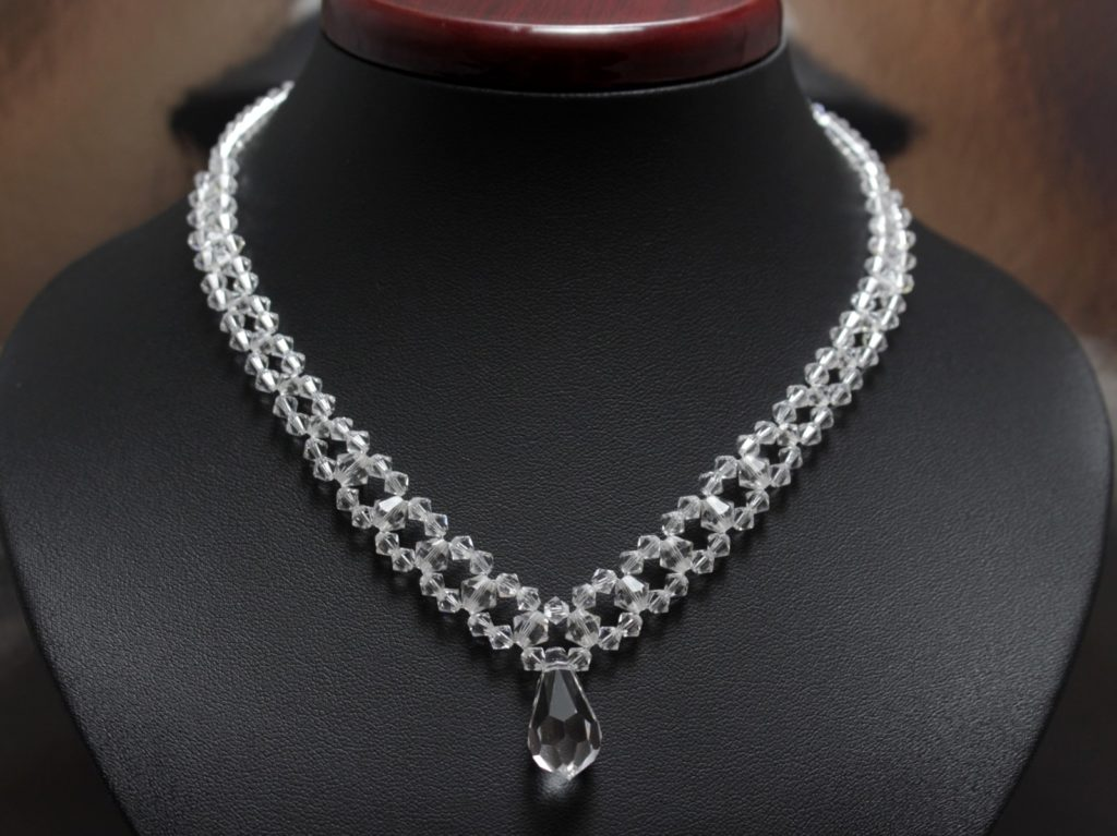 Swarovski i srebro naszyjnik kropla biżuteria ślubna 13