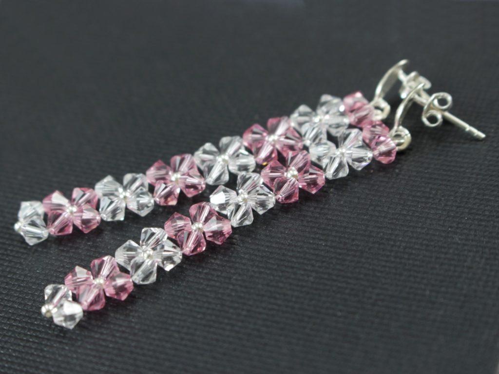 Swarovski light rosa kolczyki ślubne biżuteria ślubna 18