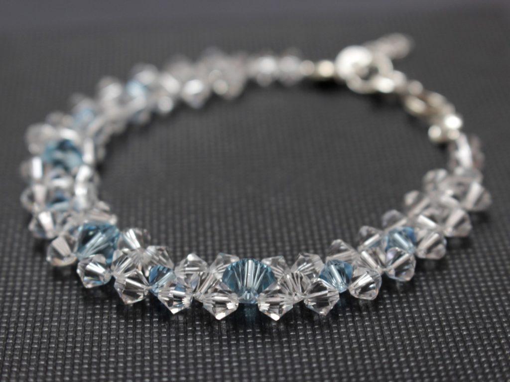 Swarpvski srebro Aquamarine biżuteria ślubna, bransoletka ślubna 10