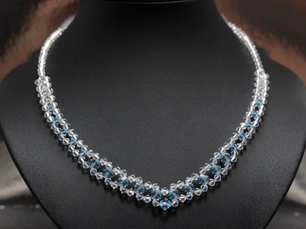 Swarpvski srebro Aquamarine biżuteria ślubna, naszyjnik ślubny 9