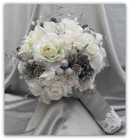 srebrny bukiet ślubny