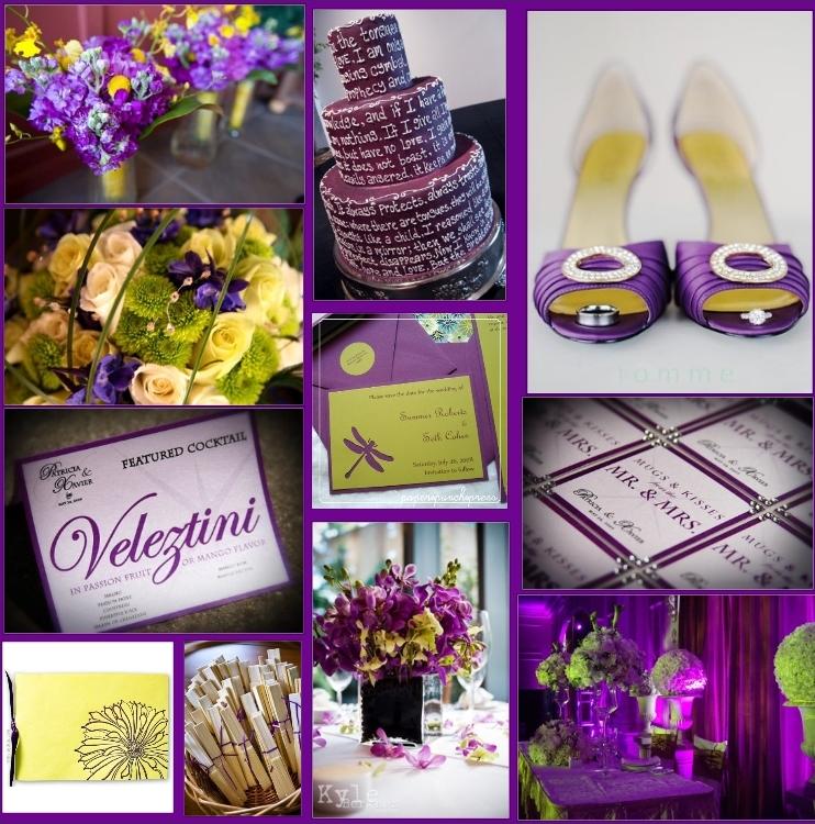 fioletowo-żółte dodatki ślubne