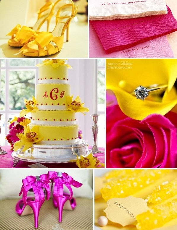 gorący róż z zółtymi elementami na wesele