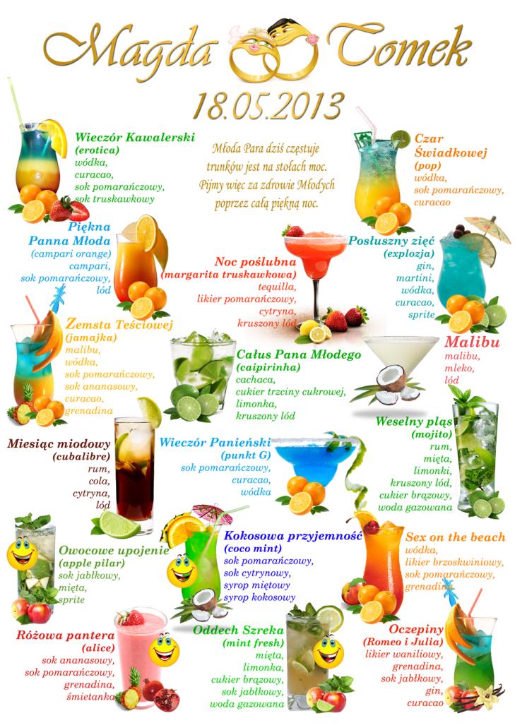 Przykładowa karta drinków na wesele, www.wynajmijbarmana.pl