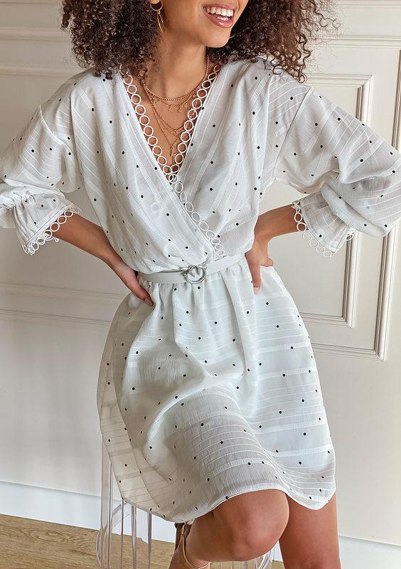 Kopertowa sukienka w kropki Mosquito