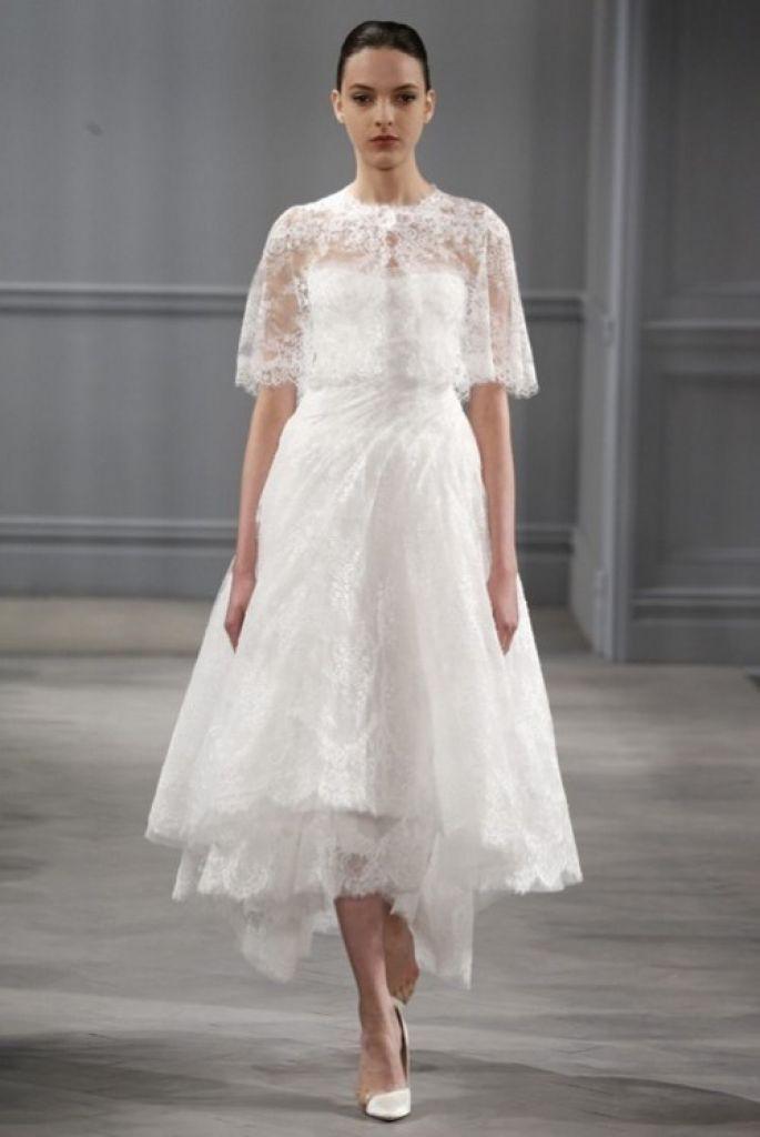 Monique-Lhuillier-suknia ślubna do łydki z bolerkiem