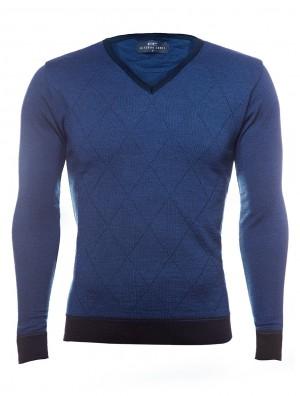 niebieski sweter meski w kratę