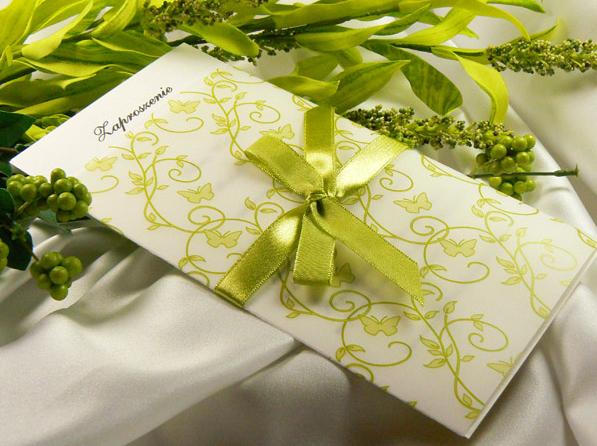 oliwkowe zaproszenie ślubne