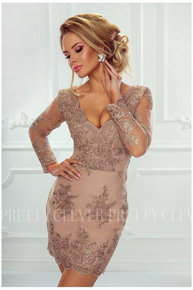 Ołówkowa koronkowa sukienka z długim rękawem Gloria Prettyclever