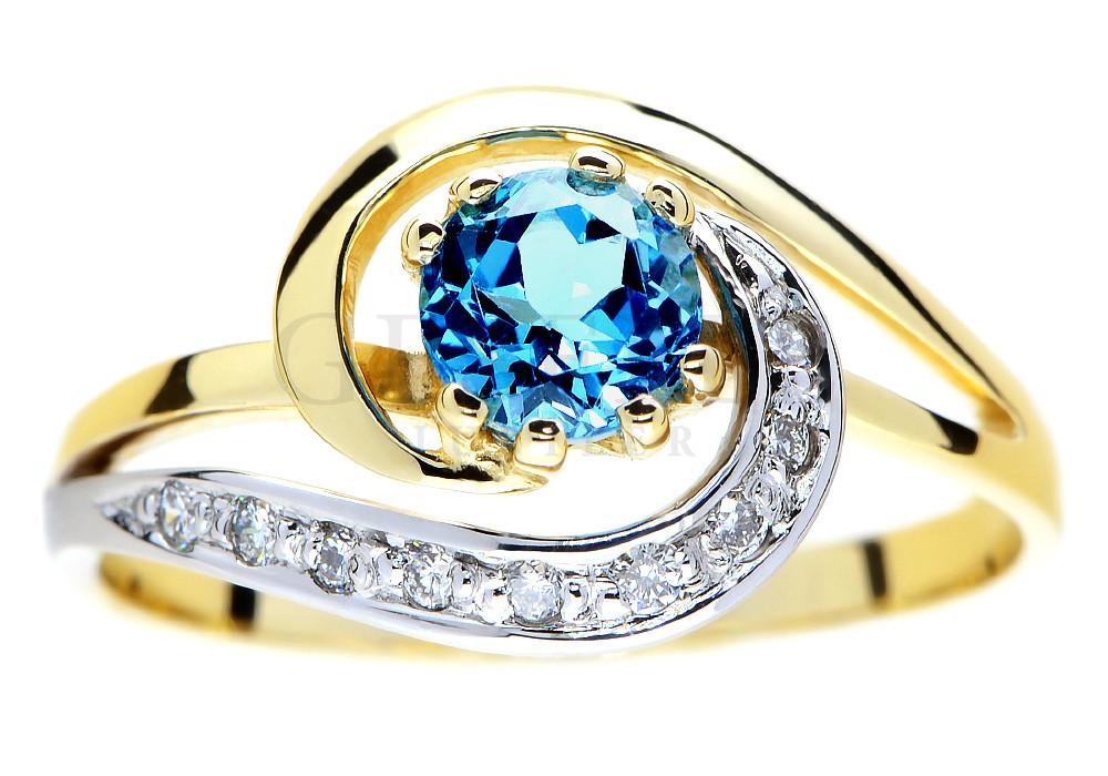 Złoty pierścionek z topazem blue i brylantami 1499zł, geselle.pl