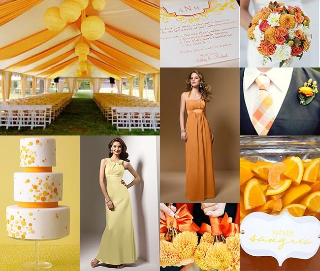 pomarańczowo-żółte inspiracje weselne