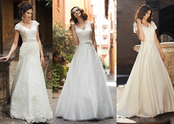 Dekolt V w sukni ślubnej