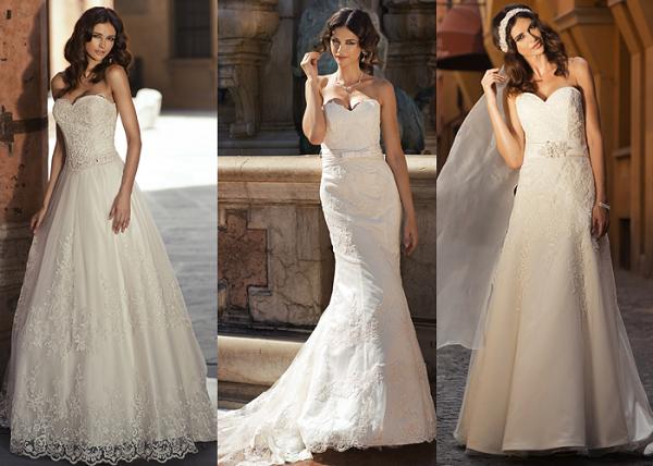 Suknie ślubne z dekoltem w serduszko