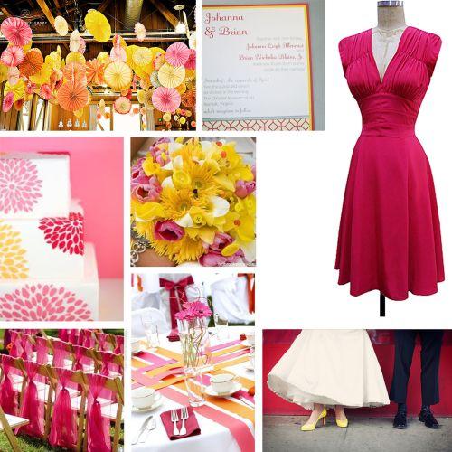 różowo-żółte dodatki na wesele