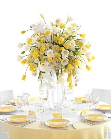 żółte nakrycie stołu weselnego