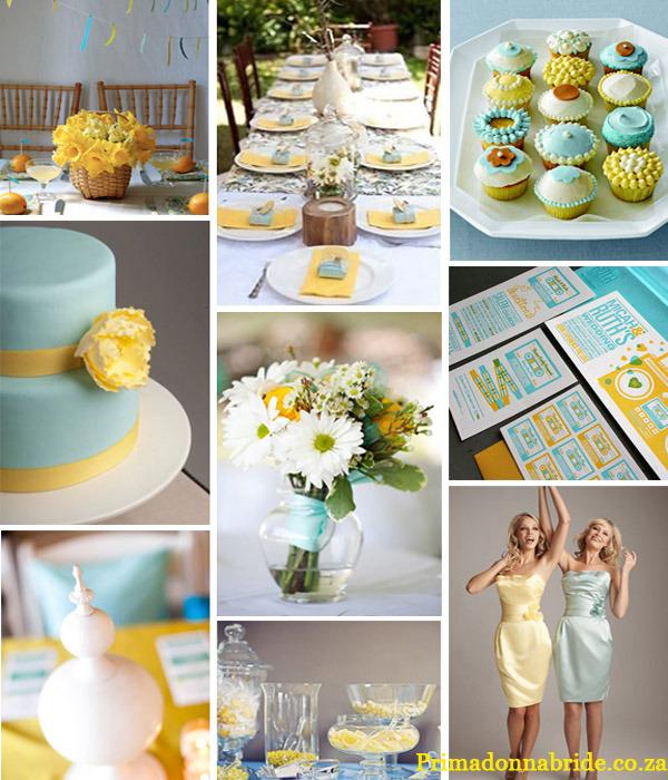 żółto turkusowy ślub