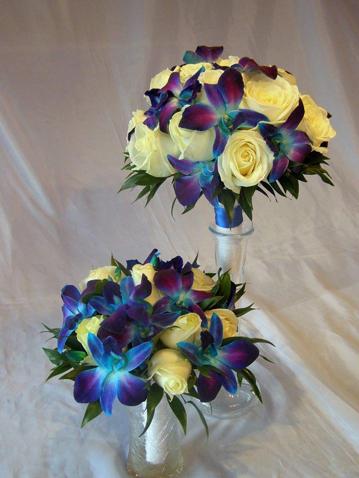 żółto-niebieski bukiet ślubny