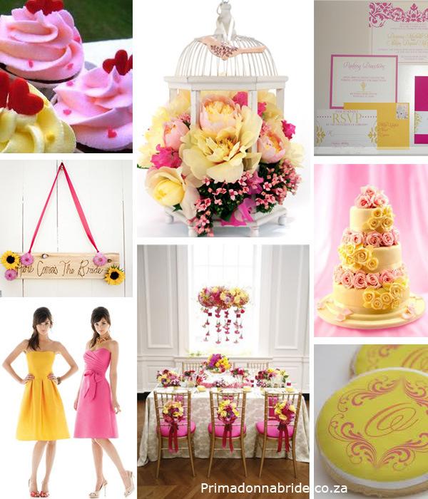żółto-różowe inspiracje weselne