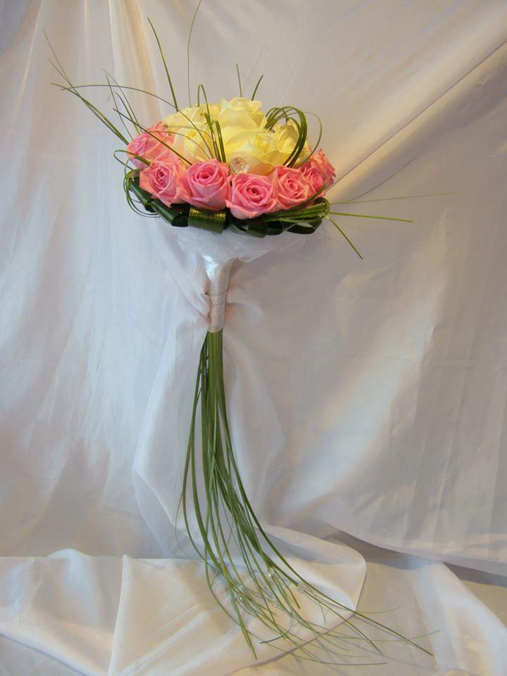 żółto-różowy bukeit ślubny