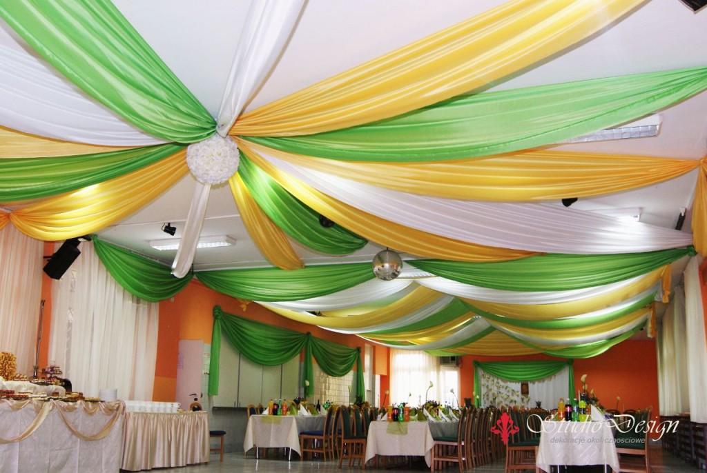 żółto-zielona dekoracja sali weselnej