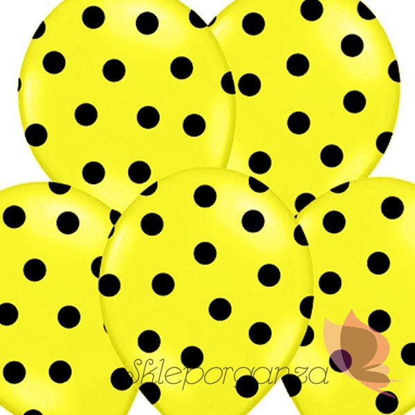 balony żółte w czarne kropki